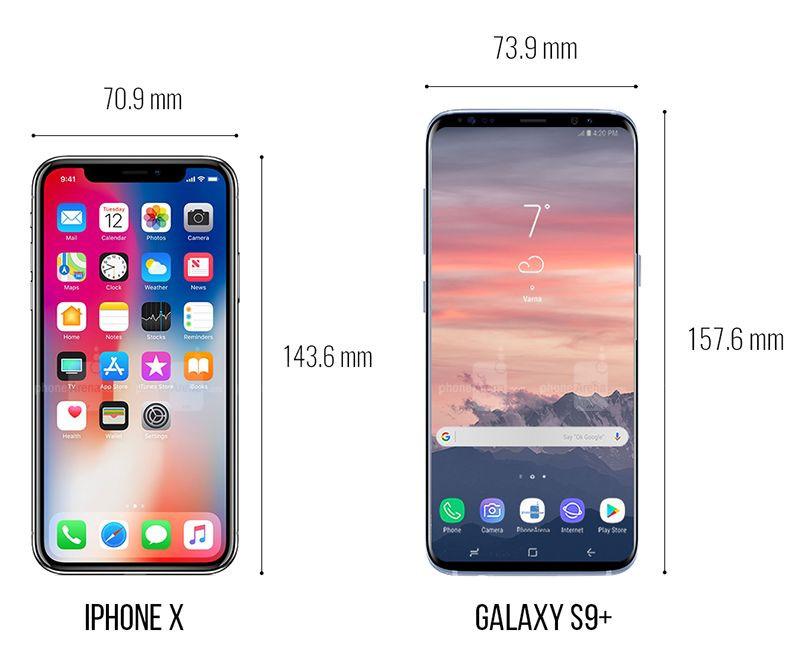 Galaxy S9, iPhone X ve Pixel 2 XL boyut karşılaştırması! - Page 1