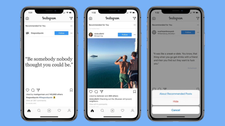 Instagram önerileri artık akış sayfasında