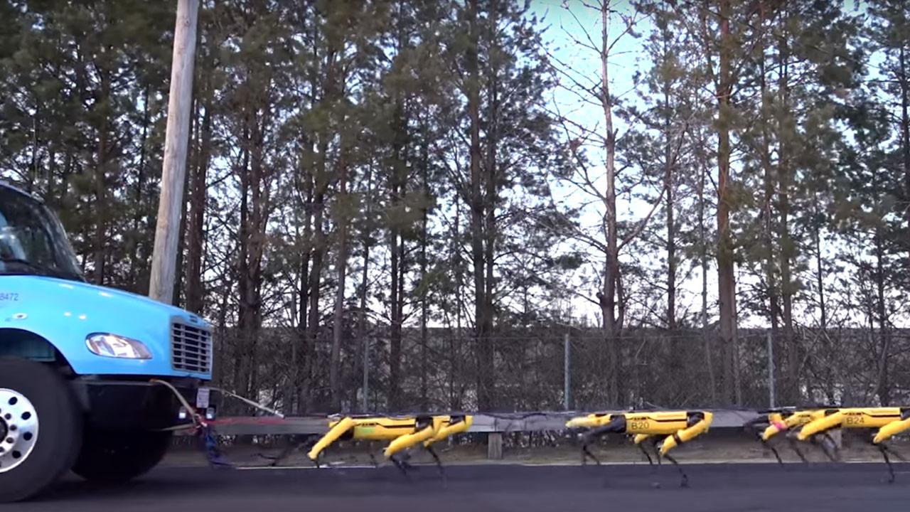 Boston Dynamics robotu Spot kamyon çekti! (video)