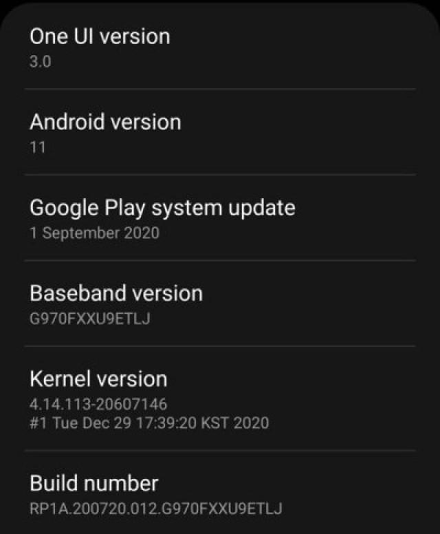 Galaxy S10 için Android 11