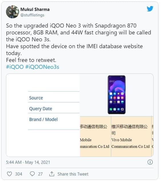Mukul Sharma'nın İQOO Neo 3s paylaşımı