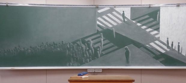 Japon lise öğrencilerinden silmeye kıyamayacağınız güzellikteki kara tahta resimleri - Page 1