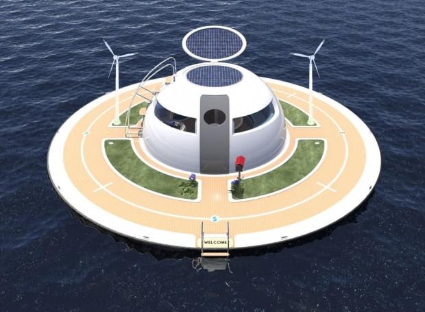 Okyanus üstünde yaşam için Ufo ev konsepti - Page 4