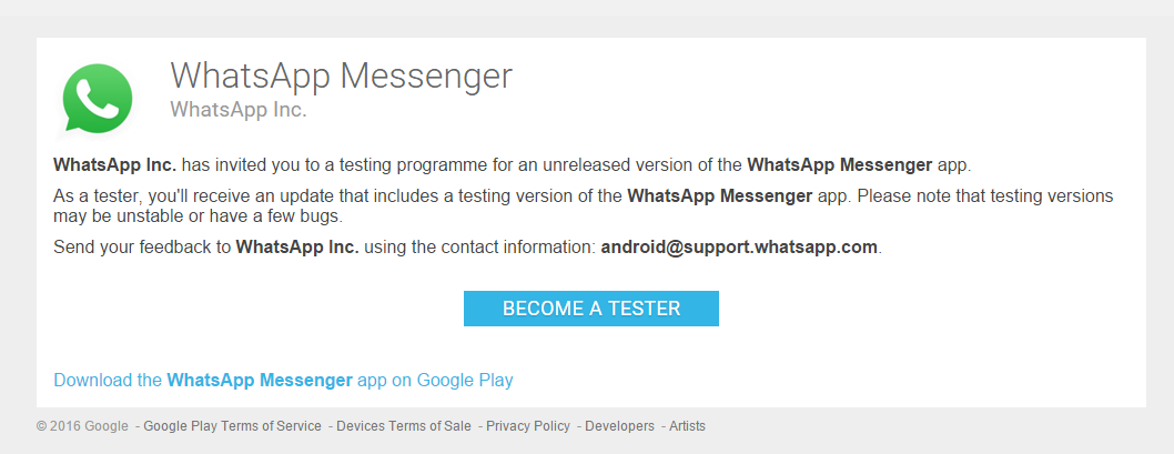 whatsapp beta