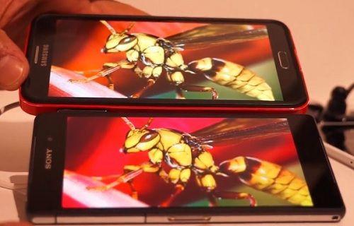 Xperia Z2 ve Galaxy Note 3'ün ekranı karşılaştırıldı [video]