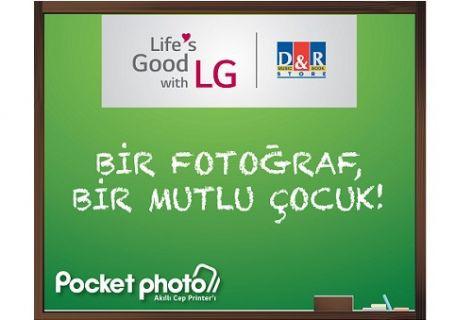 LG Pocket Photo ile bir fotoğraf bir mutlu çocuk
