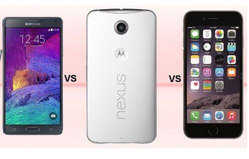 Nexus 6 ve diğer üst seviye telefonlar boyut karşılaştırması
