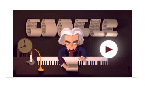 Google Beethowev'ın 245. yaş gününü doodle ile kutluyor