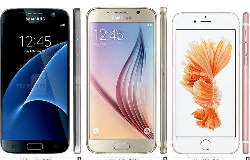 Boyut karşılaştırması: Galaxy S7 ve diğer amiral gemisi telefonlar