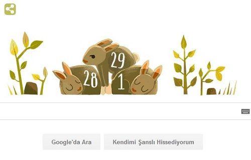 ''Artık Yıl'' Google anasayfasında Doodle oldu