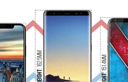 iPhone 8 vs Galaxy Note 8 vs LG V30: Boyut karşılaştırması