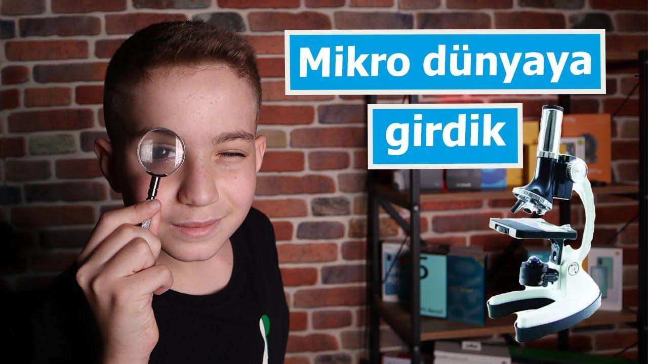 Mehmet Kaan mikroskop inceliyor | Celestron 44120 Mikroskop Kiti